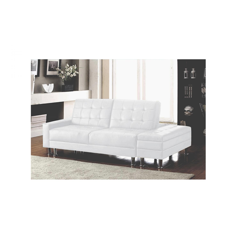 Cupidon blanc : Canapé blanc convertible 2 places avec coffre. Envie d'un canapé aussi design que pratique ? Le canapé Cupidon, doté dun coffre de rangement, est le canapé qu'il vous faut ! Le soir venu, transformez en un tour de main votre canapé en un vrai lit. Osez le canapé convertible dans votre salon, et offrez-vous la possibilité d'inviter vos amis et de leur proposer de rester dormir, car avec ce grand canapé, salon et chambre fusionnent tout en finesse. *Caractéristiques Techniques -Base : Structure en bois deucalyptus. -Dossier et Assise : Mousse polyuréthane, épaisseur 3.8mm, densité 35 kg m3. Suspension Ø3,8mm. -Revêtement : Mousse polyuréthane solide, douce au toucher et peu salissante. Coloris blanc. Pieds en plastique. *Dimensions du canapé: -Total (avec accoudoirs et coffre de rangement) : L 167 cm x P 55 cm x H 79 cm -3 placesL 152 cm x P 55 cm x H 79 cm -Accoudoir : L 83 cm x P 15 cm x H 46 cm -Taille du coffre : L 104 cm x l 38 cm x H 40 cm -Volume du coffre : L 95 cm x P 28 cm x H 16 cm *Dimensions du couchage : -Total (avec accoudoirs et coffre de rangement)L 205 cm x l 112 cm x H 40 cm -Total (avec coffre de rangement)L 190 cm x l 112 cm x H 40 cm *Conditionnement : -Livré en 2 colis *Garantie 2 ans *Livraison pas de porte Les pieds sont rangés dans une poche zipée située sous le canapé.