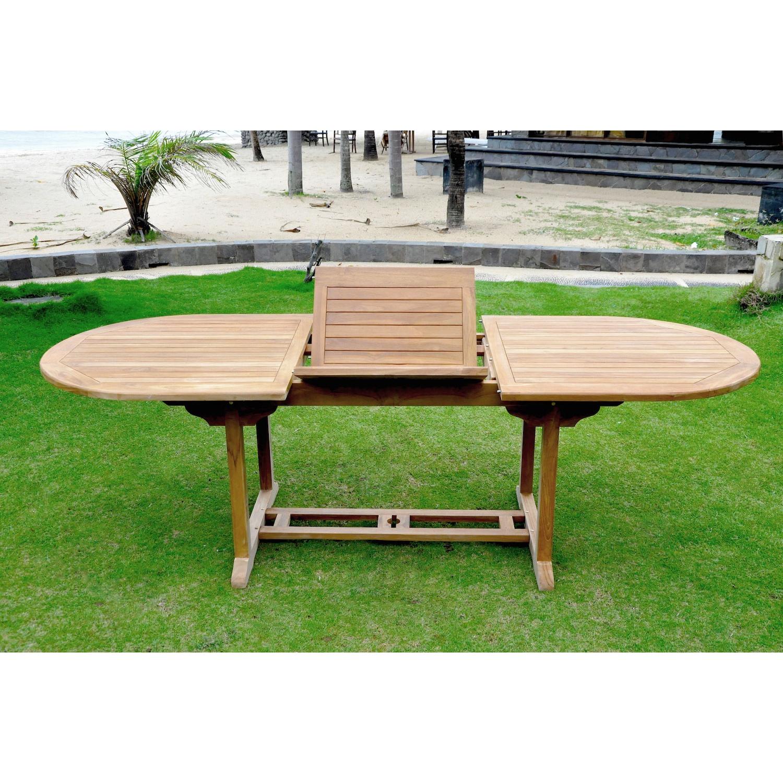 Table Kajang 10 : table de jardin ovale extensible en teck brut 10 personnes.  Table Kajang 10 : table de jardin ovale extensible en teck brut 10 pers