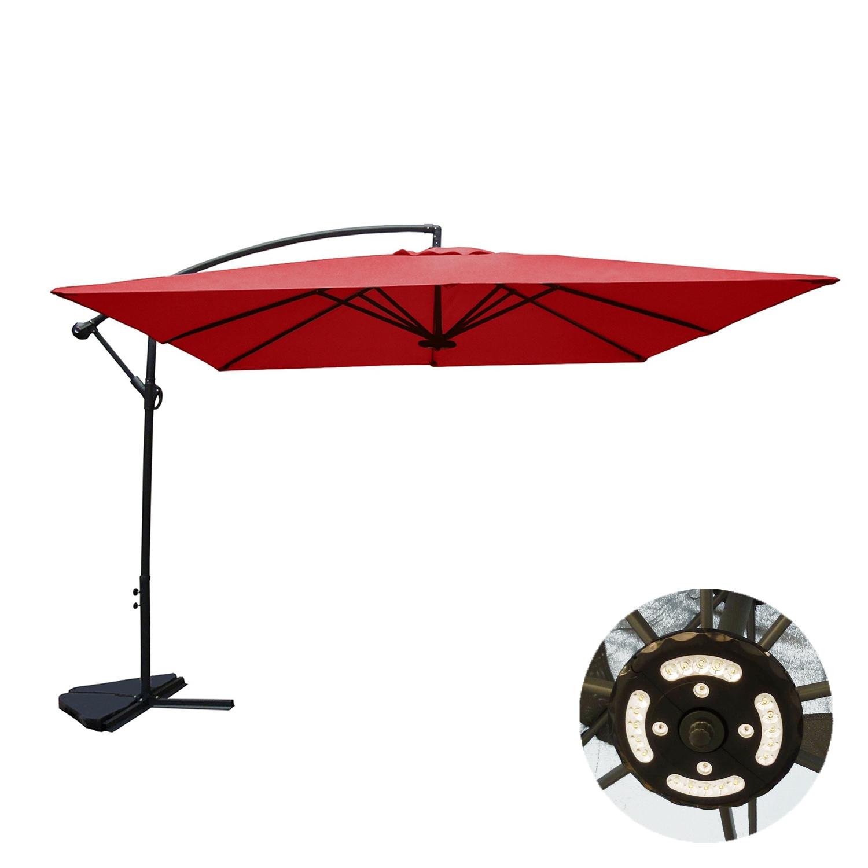 Solenzara à LED terracotta : Parasol à LED déporté 3x3m.  Solenzara à LED terracotta : Pasaol à LED déporté 3x3m  Ultra maniable, le parasol Solenzara