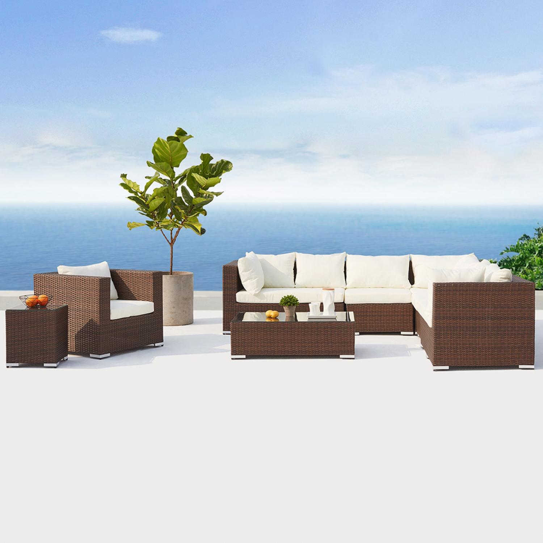 Salento Marron/Blanc : salon de jardin panoramique 8 places en résine tressée.  Salento Marron/Blanc : salon de jardin 6/8 places en résine tressée Ce