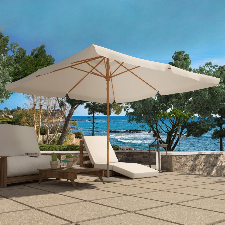 Parasol bois écru 3 x 3 m Palawan. Parasol bois écru 3 x 3 m Palawan . Aménagez votre espace extérieur avec le parasol bois Palawan 3x3m sur votre balcon, près de votre piscine ou encore dans votre jardin.  . Fabriqué en bois et résistant à l'eau grâce à sa matière polyester, ce parasol bois rectangle dispose d'un système de poulie pour une ouverture et une fermeture facile. Parfait pour ombrager un salon de jardin ou votre transat, ce parasol vous assure une protection optimale pour vous détendre en famille ou entre amis. La photo est une suggestion de présentation.  . Le pied n'est pas livré avec le parasol. . . Caractéristiques techniques. .  Type de parasol : rectangle . Couleur structure :   bois . Couleur toile :   écru . Matière :   polyester imperméable . Structure :   bois. Densité toile :   180 g/m2 . Forme :   rectangulaire  . Double système poulie :  ouiNombre de baleine :   8 . Résistant à l'eau . Traité anti UV . Entretien Les mains protégées par des gants de ménage, nettoyez le parasol avec une brosse bien imbibée d'une solution composée d'une tasse à café de cristaux de soude et d'un litre d'eau chaude. . Rincez au jet d'eau ou à l'éponge mouillée d'eau claire. Laissez sécher ouvert. . . . Dimensions . . Dimensions toile : 3 x 3 M . Diamètre du mât : 48 mm . Diamètre des baleines : 17 x 22 mm . Poids : 28 kg . . . Conditionnement. . Produit livré dans 1 carton. . Montage facile, notice incluse. . Colis 1 : 15 x 205 x 15 cm / 28,6 kgs.  . * Livraison pas de porte offerte * . Garantie 2 ans