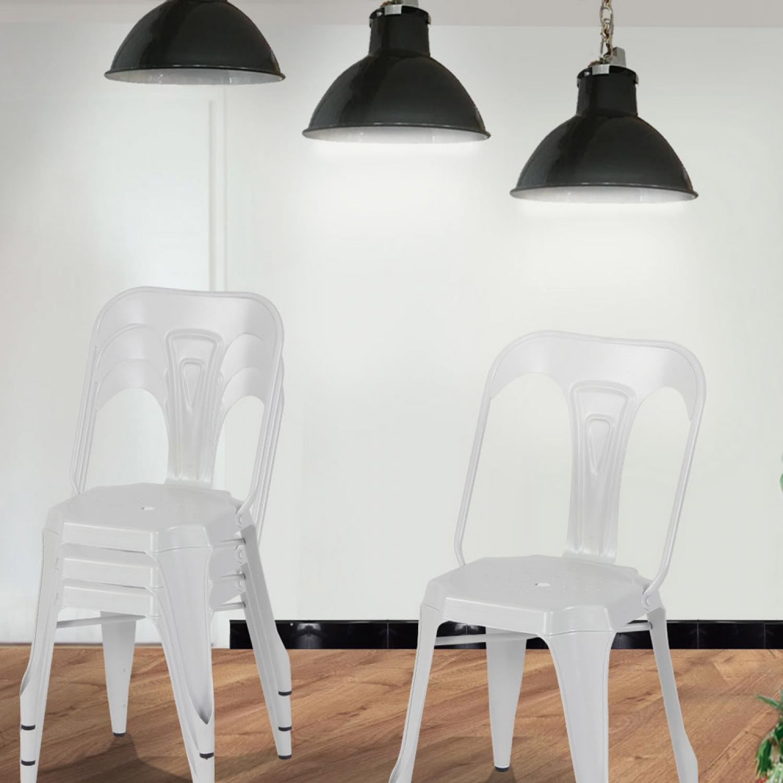 Lot de 4 chaises industrielles Blanc - Lucy. Chaises industrielles en métal blanc Donnez du caractère à votre salle à manger avec ce lot de 4 chaises