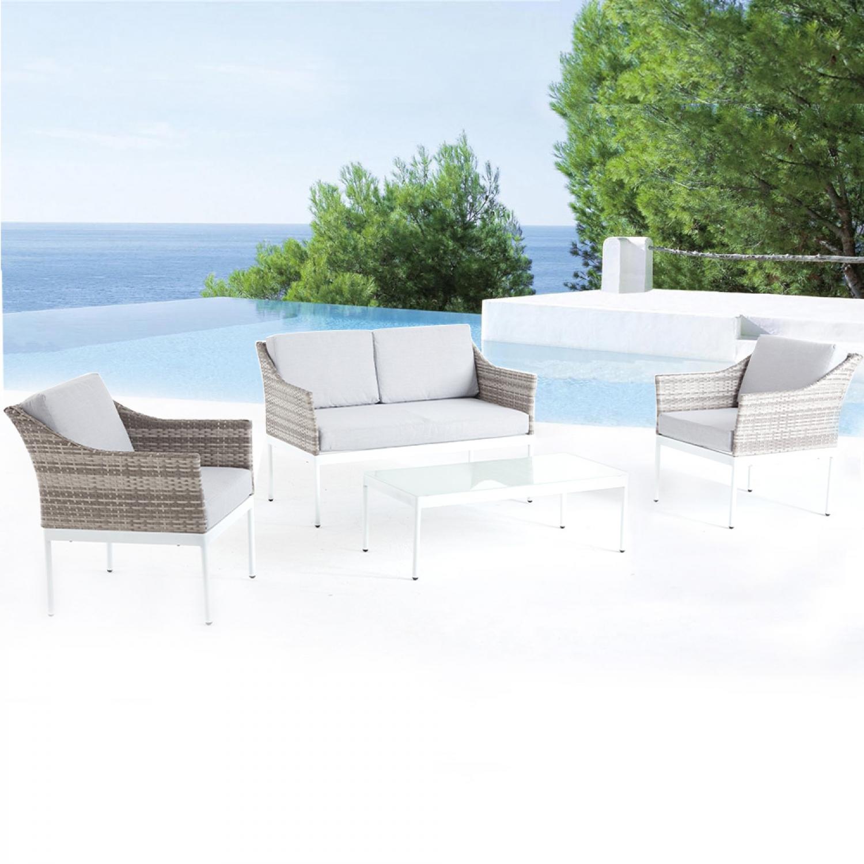 Marepa, salon de jardin bas aluminium gris & blanc. Salon de jardin bas en aluminium gris et blancLaissez-vous séduire par le salon de jardin modulabl