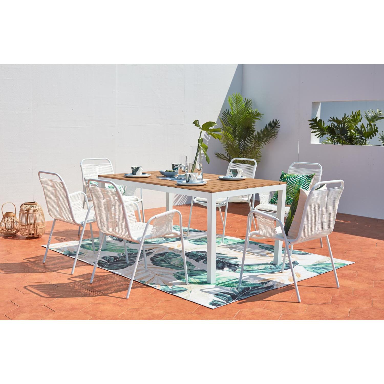 Alondra - Salon alu 6 places, chaises en cordes. Salon de jardin 6 places aluminium et chaise en cordes Offrez-vous un salon de jardin design et conte